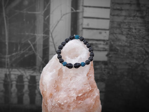 Black Skulls with Blue Czech Crystals and Lava Stone Bracelet