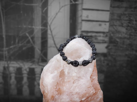 Black Skulls with Black Sparkles on Lava Stone Bracelet