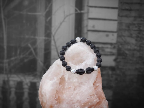 Black Skulls with White Sparkles on Lava Stone Bracelet