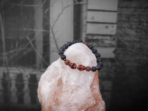 Brown Skulls with Brown Sparkles on Lava Stone Bracelet