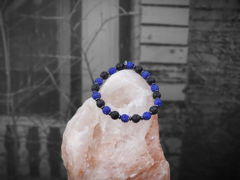 Blue Sparkles on Lava Stone Bracelet