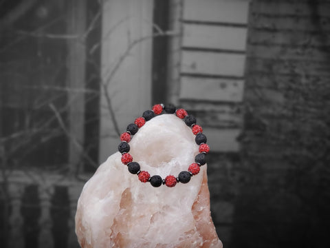 Red Sparkles on Lava Stone Bracelet