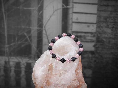 Rose Sparkle on Lava Stone Bracelet