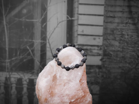 Silver Czech Crystals and Lava Stone Bracelet