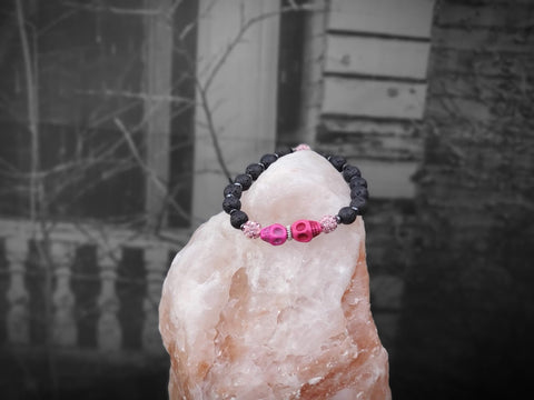 Pink Skulls with Pink Sparkles on Lava Stone Bracelet