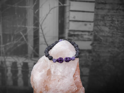 Purple Skulls with Purple Sparkles on Lava Stone Bracelet