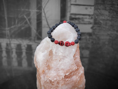 Red Skulls with Red Sparkles on Lava Stone Bracelet