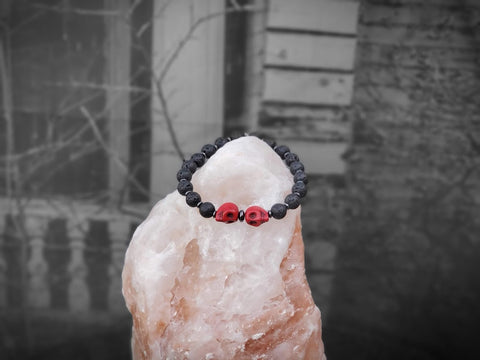 Unisex Red Skulls on Lava Stone Bracelet