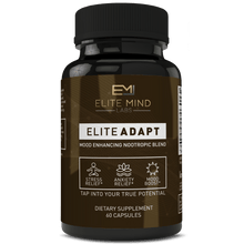 Load image into Gallery viewer, Elite Adapt - a combination of all-natural herbs, such as Ashwagandha and Rhodiola Rosea, and nootropics that will help you adapt to any stressors in your life. Manage your stress and anxiety while maximizing your mood and brain health.