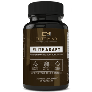 Elite Adapt - a combination of all-natural herbs, such as Ashwagandha and Rhodiola Rosea, and nootropics that will help you adapt to any stressors in your life. Manage your stress and anxiety while maximizing your mood and brain health.
