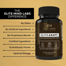 Load image into Gallery viewer, Elite Adapt is a combination of all-natural herbs, such as Ashwagandha and Rhodiola Rosea, and nootropics that will help you adapt to any stressors in your life. Manage your stress and anxiety while maximizing your mood and brain health.