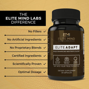 Elite Adapt is a combination of all-natural herbs, such as Ashwagandha and Rhodiola Rosea, and nootropics that will help you adapt to any stressors in your life. Manage your stress and anxiety while maximizing your mood and brain health.