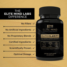 Load image into Gallery viewer, Elite Clarity helps you reach the next level of cognitive ability and overall brain health with just the right dosage of clinically studied all-natural nootropics.