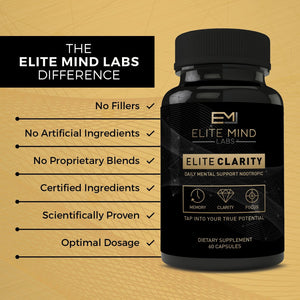Elite Clarity helps you reach the next level of cognitive ability and overall brain health with just the right dosage of clinically studied all-natural nootropics.