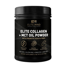 Load image into Gallery viewer, This product combines the sustainable proteins from 100% grass-fed collagen peptides with the energy boosting healthy fats in MCT oil. Elite Start Collagen + MCT can be used at any time of day for a boost in energy and focus while also supporting digestion, hair, skin, nails, and joint health.