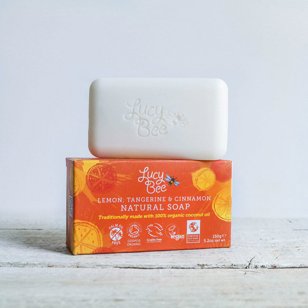 Lemon Tangerine and Cinnamon Natural Soap Pack and Unwrapped Bar