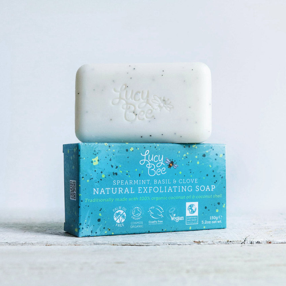 Lucy Bee Natural Exfoliating Soap Bar Pack with Soap Unwrapped