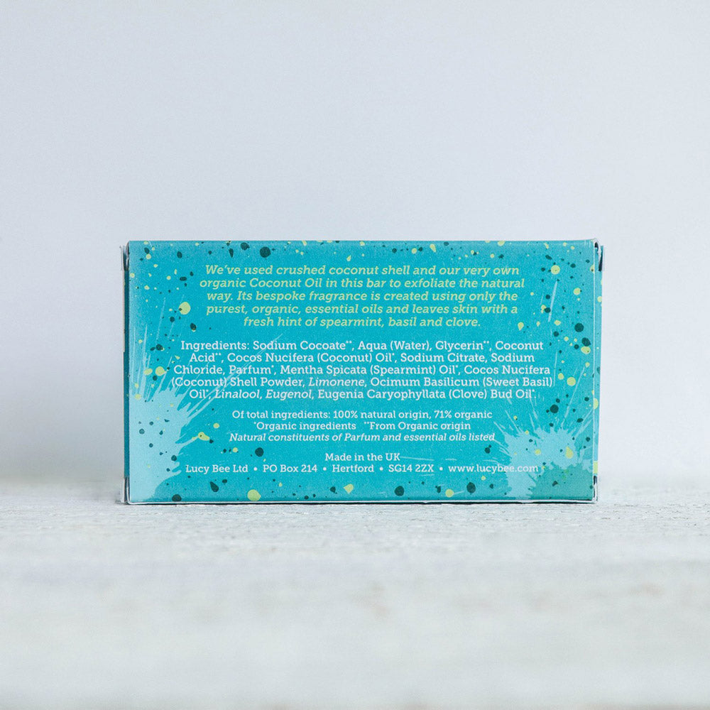 Lucy Bee Natural Exfoliating Soap Back of Pack Image