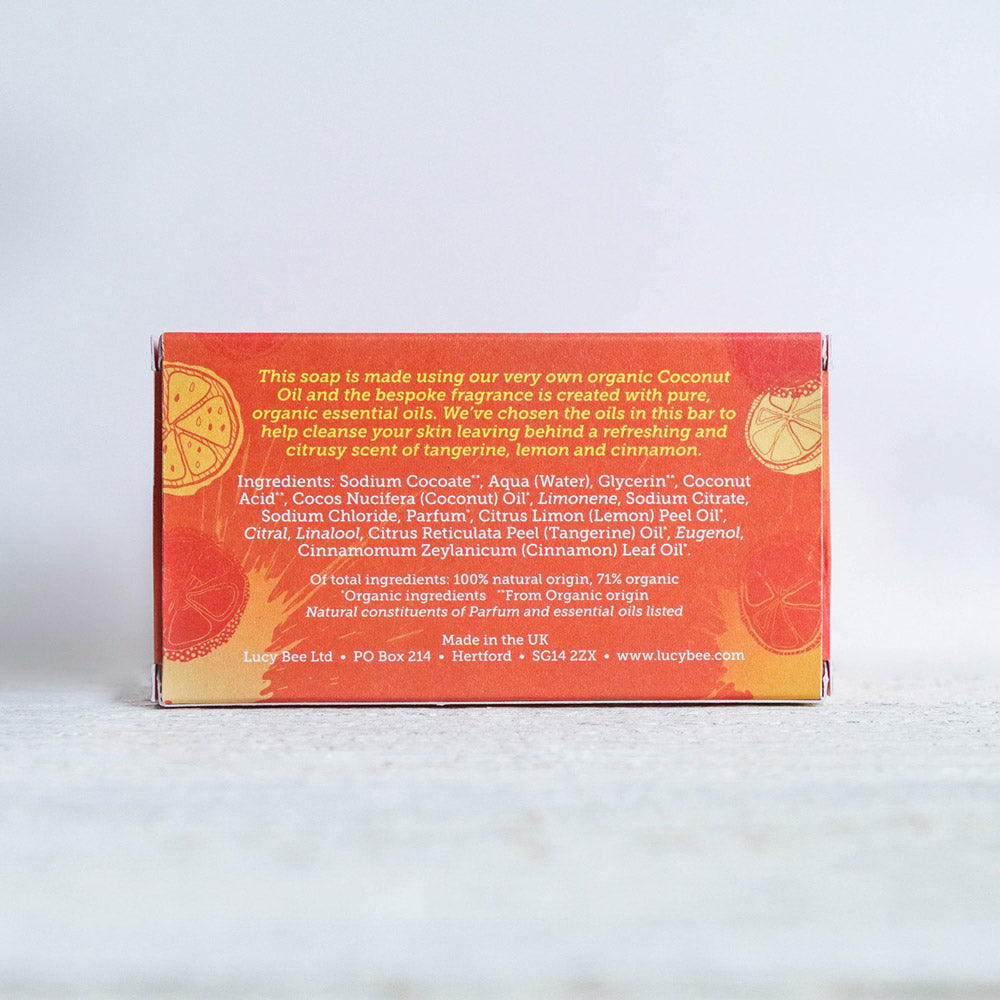 Lucy Bee Lemon Tangerine and Cinnamon Natural Soap Ingredients List on Back