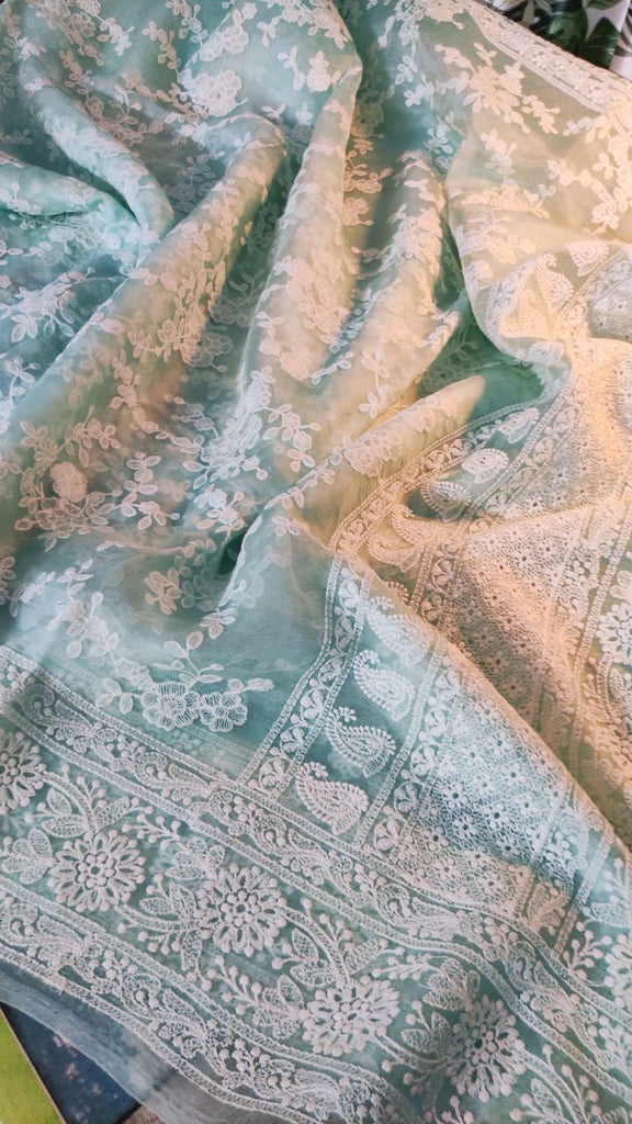 Zynah Pure Organza Chikankari Saree in Pastel Shades; stitched readymade blouse,fall,petticoat,available in USA /& worldwide