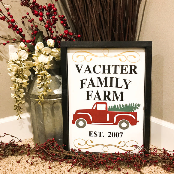Family Farm Christmas Sign