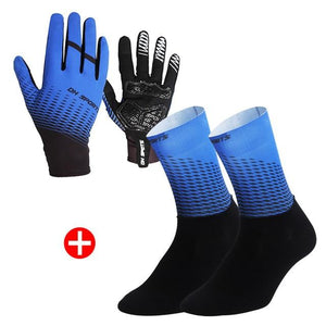 1Pair Half /Full Finger Cycling Gloves With 1Pair Cycling Socks Bikewest.com Full Blue M