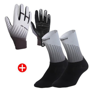 1Pair Half /Full Finger Cycling Gloves With 1Pair Cycling Socks Bikewest.com Full Gray L