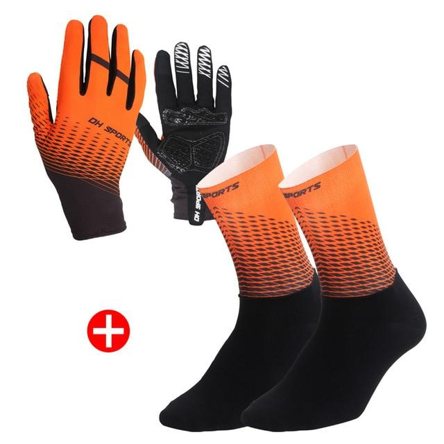 1Pair Half /Full Finger Cycling Gloves With 1Pair Cycling Socks Bikewest.com Full Orange M