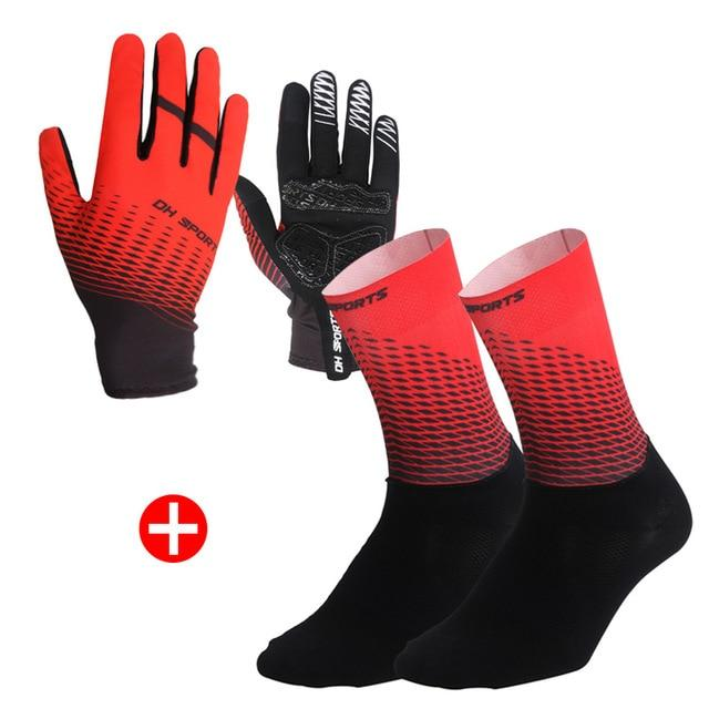 1Pair Half /Full Finger Cycling Gloves With 1Pair Cycling Socks Bikewest.com Full Red XL