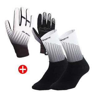 1Pair Half /Full Finger Cycling Gloves With 1Pair Cycling Socks Bikewest.com Full White XL
