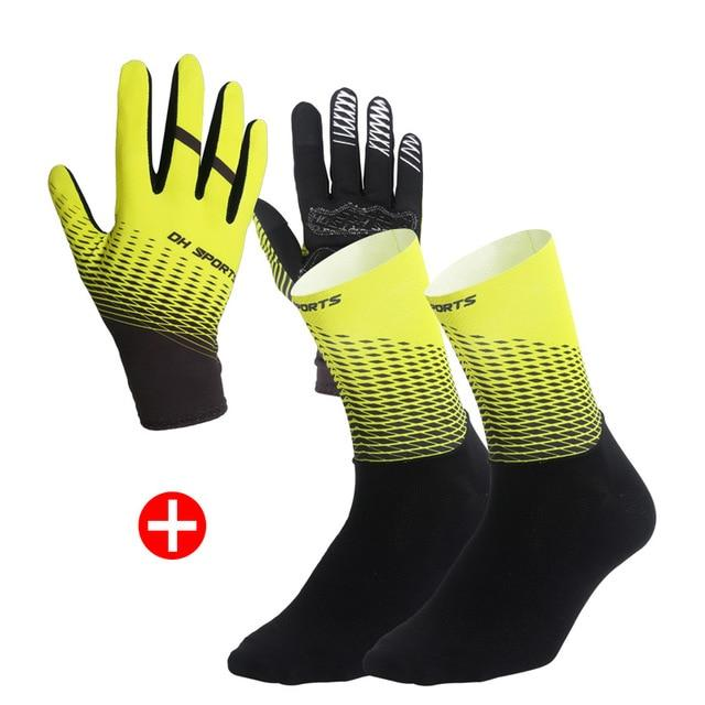 1Pair Half /Full Finger Cycling Gloves With 1Pair Cycling Socks Bikewest.com Full Yellow L