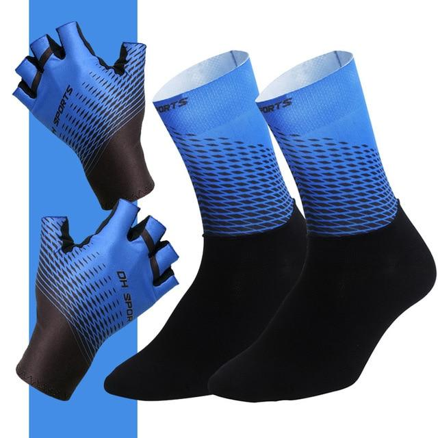 1Pair Half /Full Finger Cycling Gloves With 1Pair Cycling Socks Bikewest.com Half Blue M