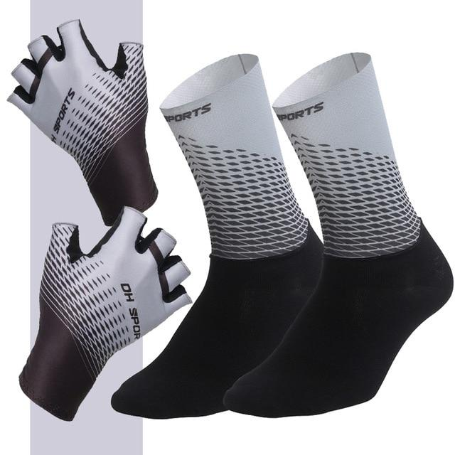 1Pair Half /Full Finger Cycling Gloves With 1Pair Cycling Socks Bikewest.com Half Gray L