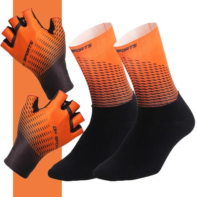 1Pair Half /Full Finger Cycling Gloves With 1Pair Cycling Socks Bikewest.com Half Orange XL