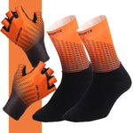 Load image into Gallery viewer, 1Pair Half /Full Finger Cycling Gloves With 1Pair Cycling Socks Bikewest.com Half Orange XL