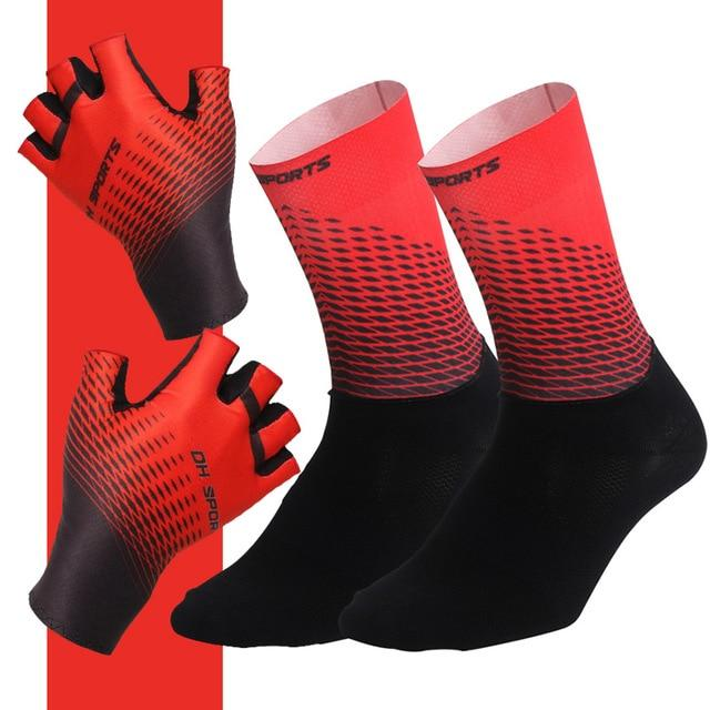1Pair Half /Full Finger Cycling Gloves With 1Pair Cycling Socks Bikewest.com Half Red XL