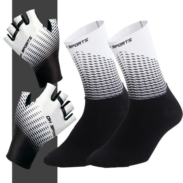 1Pair Half /Full Finger Cycling Gloves With 1Pair Cycling Socks Bikewest.com Half White XL
