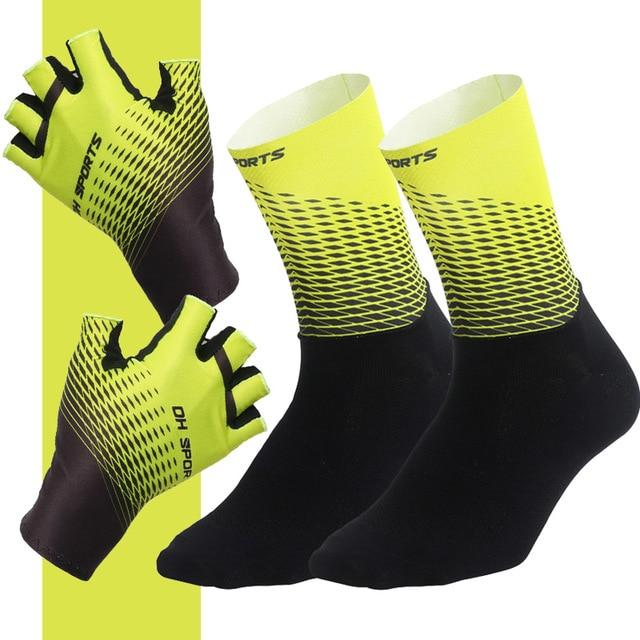 1Pair Half /Full Finger Cycling Gloves With 1Pair Cycling Socks Bikewest.com Half Yellow L