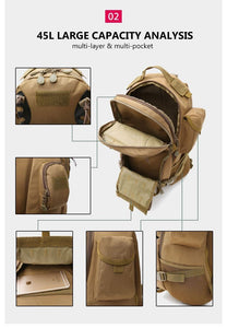 45L Outdoor Military Backpack Tactical Rucksack Camping Hiking Travel Sports Bag Bikewest.com