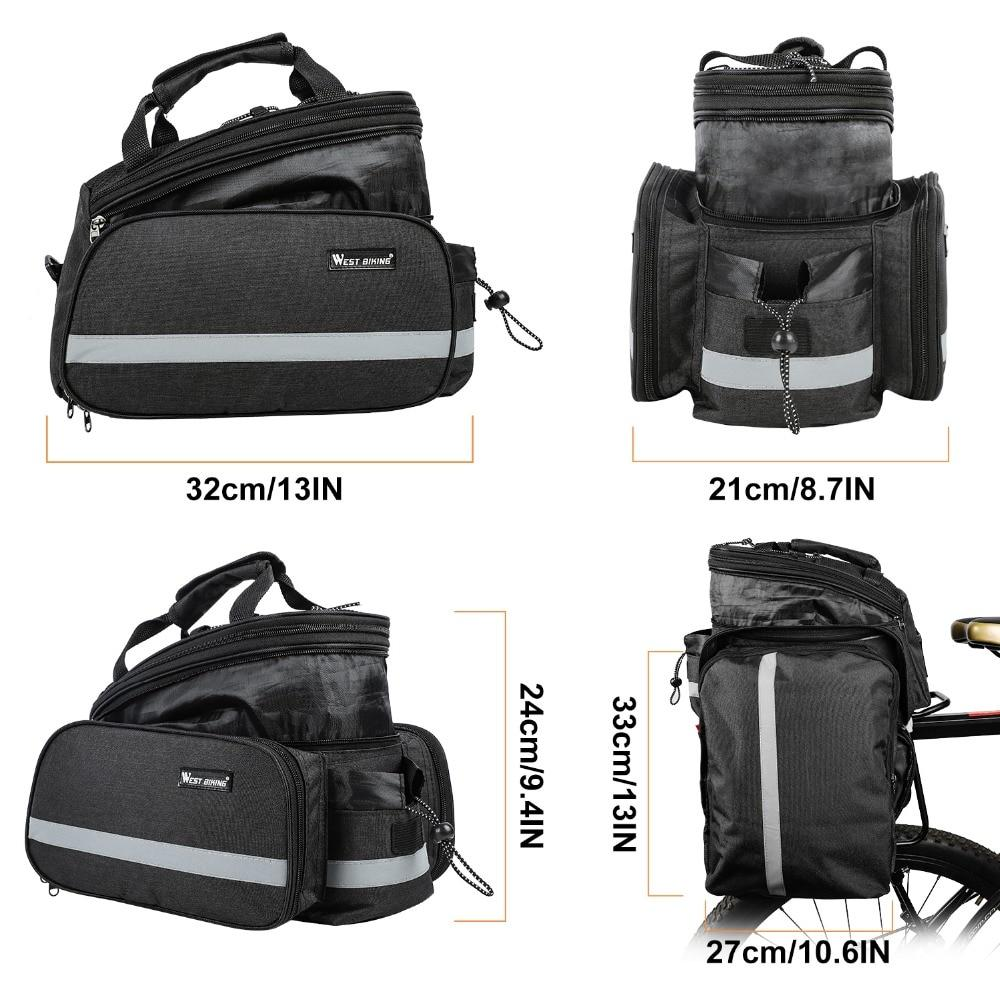 Bicycle 3 in 1 Trunk Bag Road Mountain Bike Bag Cycling Double Side Rear Rack Luggage Carrier Tail Seat Pannier Pack Bikewest.com