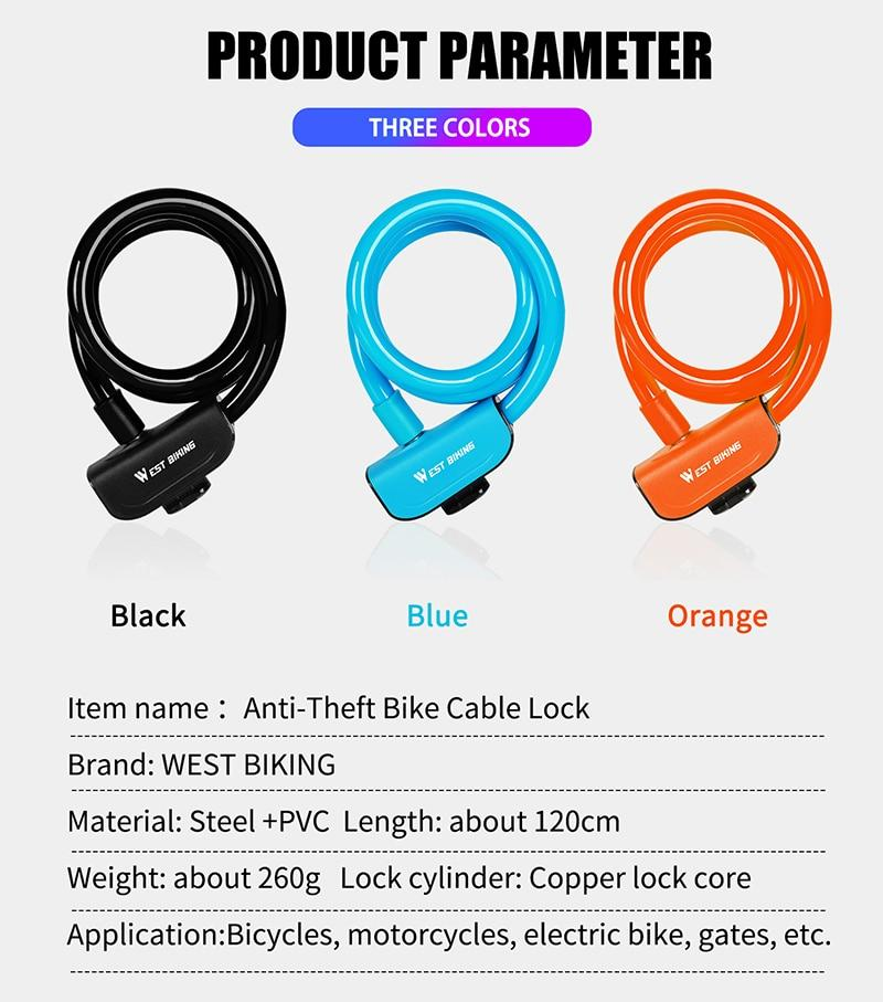Bike Lock 1.2m Anti Theft Security Bicycle Accessories With 2 Keys Cable Lock Bikewest.com