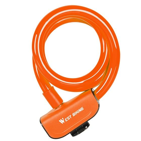 Bike Lock 1.2m Anti Theft Security Bicycle Accessories With 2 Keys Cable Lock Bikewest.com Orange China