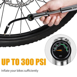 Bike Pump 300Psi With Hose Gauge For Fork Rear Suspension Cycling Bikewest.com