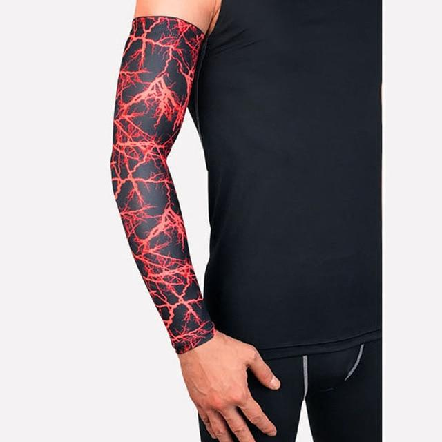 Compression Sports Arm Sleeve Basketball Cycling Arm Bikewest.com Red Lightning M