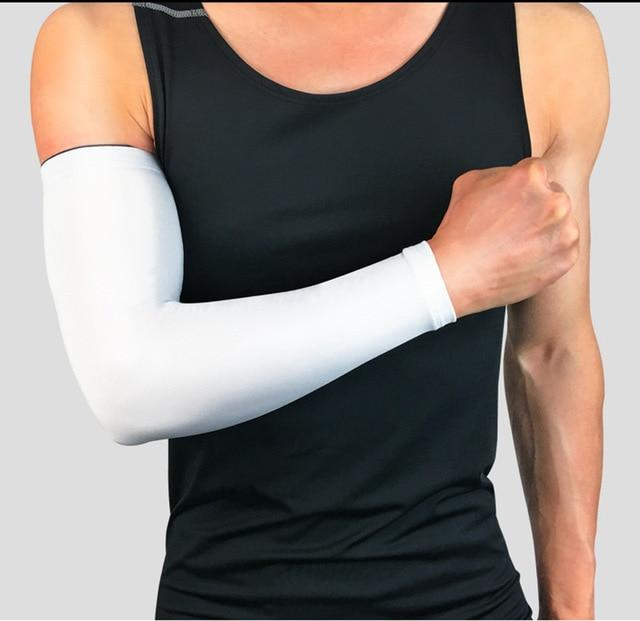 Compression Sports Arm Sleeve Basketball Cycling Arm Bikewest.com White M
