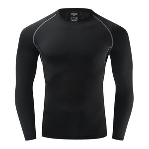 Cycling Base Layers Bodybuilding Fitness Long Sleeve Tight Bikewest.com Black No Fleece S
