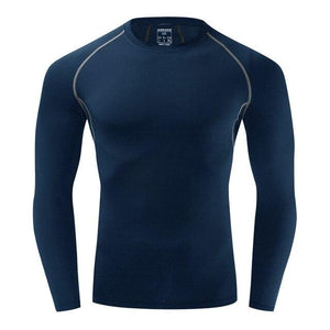 Cycling Base Layers Bodybuilding Fitness Long Sleeve Tight Bikewest.com BlueNo Fleece XXL