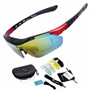 Cycling Glasses Polarized Glasses 5 lens Bikewest.com black red