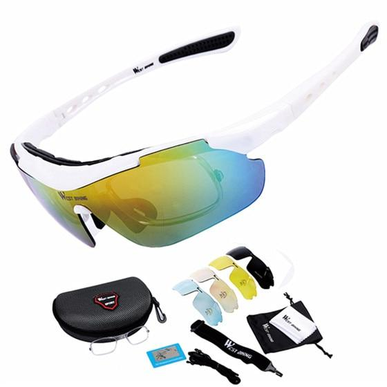 Cycling Glasses Polarized Glasses 5 lens Bikewest.com white