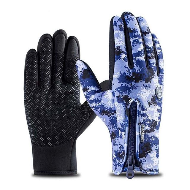 Cycling Gloves Bicycle Warm Touchscreen Full Finger Gloves Bikewest.com Camo Blue XL